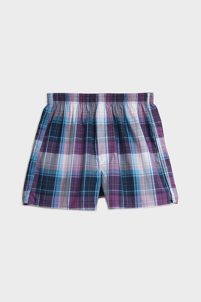 (男款)專職格紋.平織純棉四角內褲(白/淺藍/紫/灰藍格)