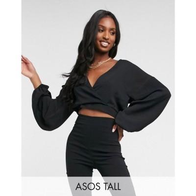 エイソス ASOS DESIGN レディース ブラウス・シャツ トップス Tall textured batwing top in black ブラック