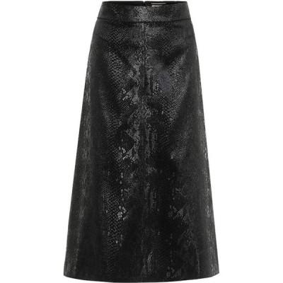 イヴ サンローラン Saint Laurent レディース ひざ丈スカート スカート snake-effect high-rise velvet midi skirt Black