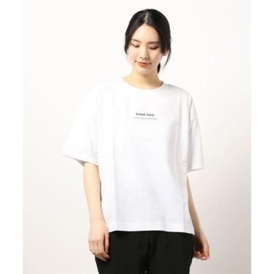 tシャツ Tシャツ 汗染み防止加工 二段ロゴ 前後差 サイドスリット プリントTシャツ