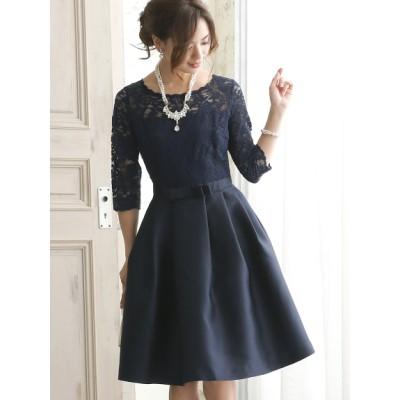 【大きいサイズ】【3-4L】(体型カバー)レースエレガントクラシックドレス[結婚式・二次会・パーティー・女子会・お呼ばれ対応] 大きいサイズ パーティドレス・ワンピース レディース