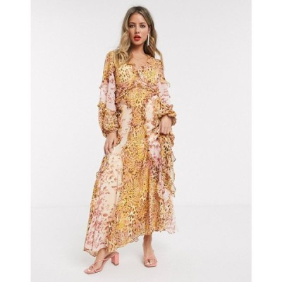 バルドー Bardot レディース ワンピース マキシ丈 ワンピース・ドレス long sleeve frill maxi dress in mustard/blush leopard print