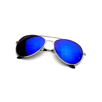 サングラスEmblem Eyewear - プレミアムクラシックメタルフレーム反射ミラーレンズパイロットサングラス (ブルー)