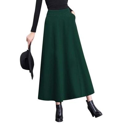 [ニーマンバイ]ふんわり フレア スカート a ライン ミモレ丈 厚手 ロングスカート 無地 シフォン 大きい オオキイ あったかい アタタカイ ゆっ