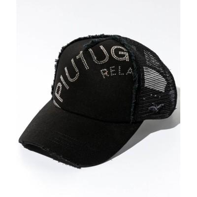 SHIFFON / 1PIU1UGUALE3 RELAX(ウノピゥウノウグァーレトレ)ラインストーンロゴデニムキャップ MEN 帽子 > キャップ
