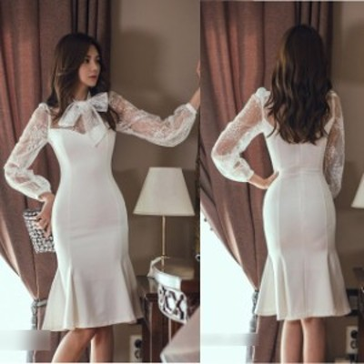 結婚式 ドレス パーティードレス お呼ばれ ワンピース 二次会 ドレス 袖あり 長袖 リボンタイ 首元リボン 大きいサイズ