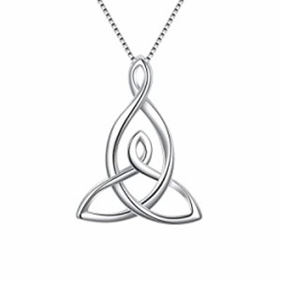 FANZE Celtic Necklace 925 Sterling Silver Good Luck Irish Knot Triquetra Timeless Love Pendant Necklace