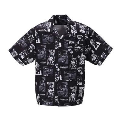 大きいサイズ メンズ b-one-soul DUCK DUDE ストリートスナップ 半袖 シャツ ブラック 1257-0230-2 3L 4L 5L 6L