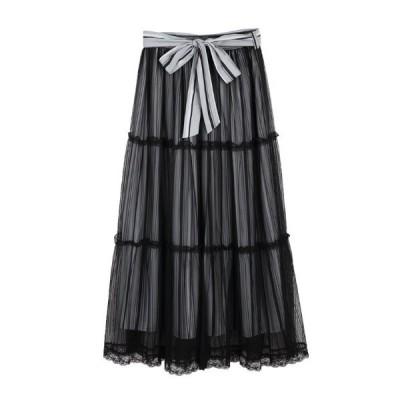 スカート ストライプチュールスカート