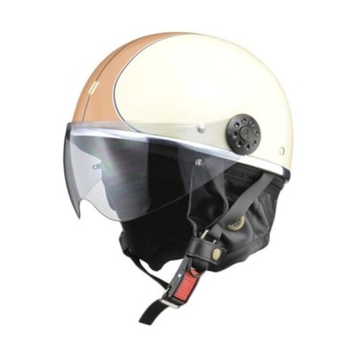 リード(LEAD) O-ONE ハーフヘルメット アイボリー/ブラウン バイク用品 ヘルメット 半帽タイプヘルメット