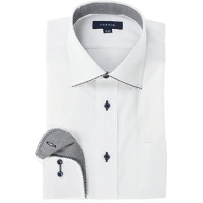 形態安定レギュラーフィット ワイドカラーパイピング長袖ビジネスドレスシャツ/ワイシャツ