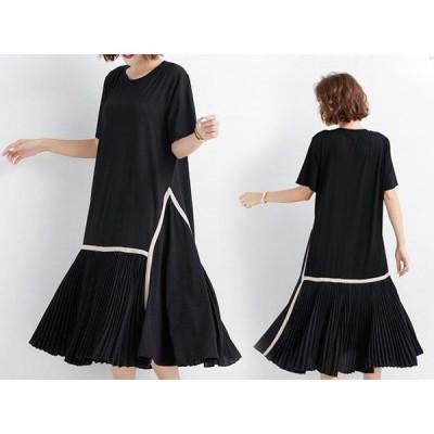 ワンピースTシャツ無地半袖マキシ丈ロングノースリーブ全1色レディースw109