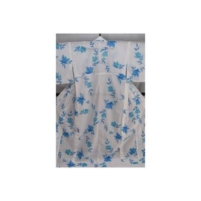 夏着物 美品 小紋 化繊 紗 白・空色 花柄 身丈159cm k4