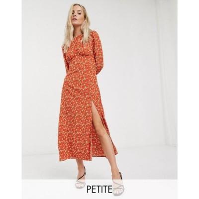 ファッションユニオン Fashion Union Petite レディース ワンピース ミドル丈 ワンピース・ドレス midi dress in floral オレンジフローラル