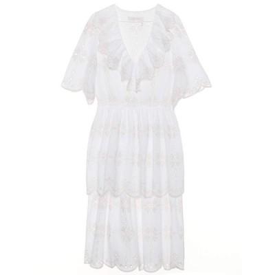 クロエ See By Chloe レディース ワンピース ワンピース・ドレス Embroidered cotton dress White
