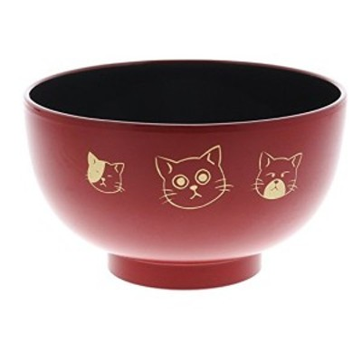 子供用 お椀 食洗機・電子レンジ対応 汁椀 やんちゃ 猫 赤 イシダ