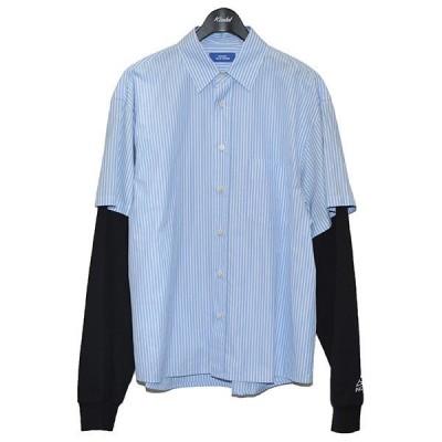 PACCBET BOTTON UP SHIRT ジャージ レイヤードシャツ ストライプシャツ ブルー×ホワイト×ブラック サイズ:M (三軒茶屋店)