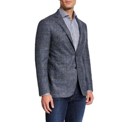 カナーリ メンズ ジャケット・ブルゾン アウター Men's Kei Windowpane Melange Two-Button Jacket