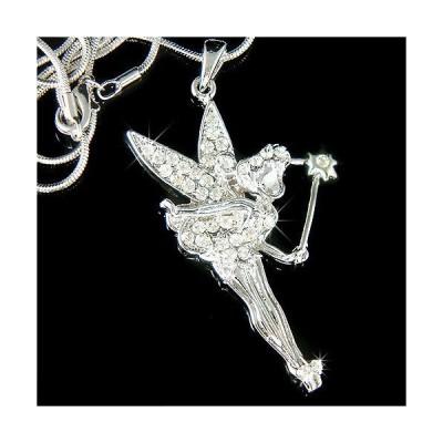 ネックレス インポート スワロフスキ クリスタル ジュエリー Tinkerbell made with Swarovski Crystal Fairy Wings PIXIE Magic Wand Necklace New