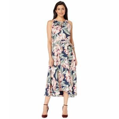 タハリ レディース ワンピース トップス Sleeveless Printed Floral Keyhole Neck Dress w/ High-Low Hem Line Navy Cali Floral