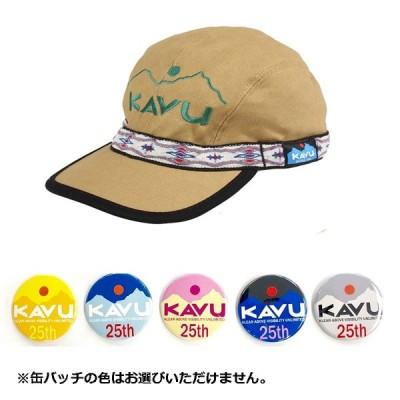 帽子・防寒・エプロン KAVU 25周年缶バッチ付き エンブロイダリー ストラップキャップ L KAVU×Khaki