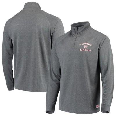 ワシントン・ナショナルズ Stitches Team Raglan Quarter-Zip Pullover ジャケット - Heathered Charcoal