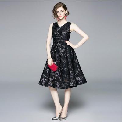 S〜3L 結婚式 二次会 パーティー 大人上品感 披露宴 上品艶感 花柄ジャガード織ドレス ドレス