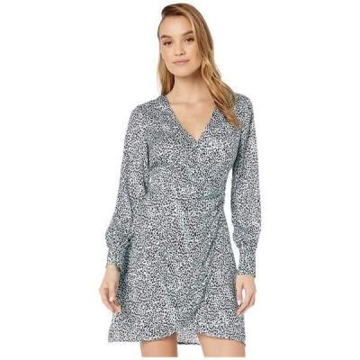カップケーキアンドカシミア ワンピース トップス レディース Virgo 'Leopard Spots' Soft Satin Wrap Dress Blue Fog