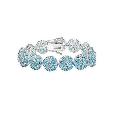 【新品】Dazzlingrock Collection Sterling Silver Pear & Round Blue Topaz Ladies Tear