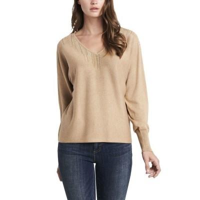 ヴィンスカムート ニット&セーター アウター レディース Women's Embellished V-Neck Dolman Sleeve Sweater Latte Heather