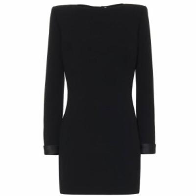 イヴ サンローラン Saint Laurent レディース ワンピース ワンピース・ドレス Wool-crepe minidress Noir