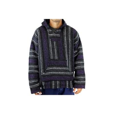 パーカー トレーナー 海外セレクション Baja Joe Unisex Striped Woven Pullover Hoodie Purple Mexican Hooded Pinstripe Cl