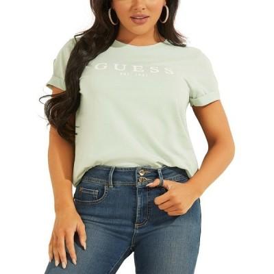 ゲス カットソー トップス レディース 1981 Rolled Cuffed Logo T-Shirt Minty Mist