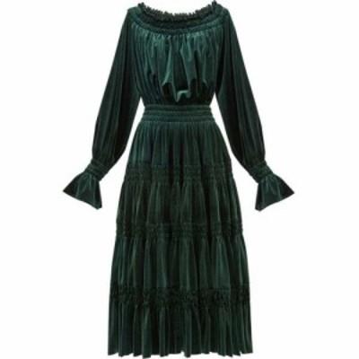 ノーマ カマリ Norma Kamali レディース パーティードレス ミドル丈 ワンピース・ドレス Off-the-shoulder smocked velvet midi dress Fo