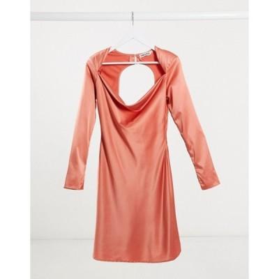 ユニークトゥエンティワン レディース ワンピース トップス Unique21 satin bias cut mini dress with cut out back in terracotta