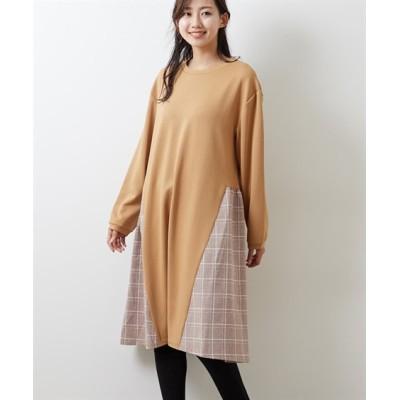 チェック切り替えリップルチュニックワンピース (ワンピース)Dress