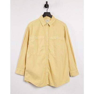 モンキ レディース シャツ トップス Monki Allison organic cotton oversized shirt in natural yellow dye