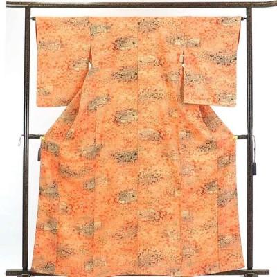 リサイクル着物 小紋 正絹オレンジぼかし袷小紋着物