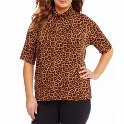 マイケル コース MICHAEL Michael Kors レディース ブラウス・シャツ トップス Plus Leopard Print Knit Jersey Short Sleeve Turtleneck
