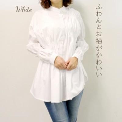 【プレザント ギフト】シャーリングでアクセントをつけたオシャレな白シャツ 40代【50代ファッション 60代ファッション】 70代80代ミセス