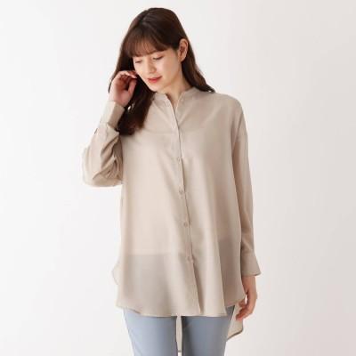 シューラルー SHOO-LA-RUE シンプルバンドカラーシャツ (サンドベージュ)