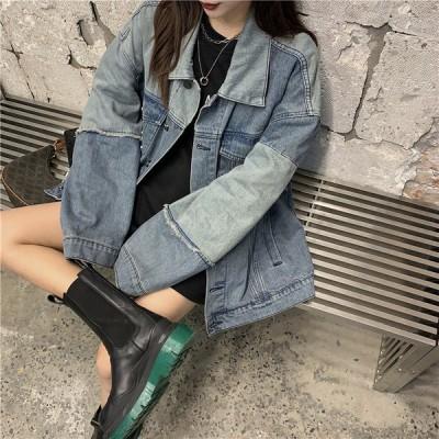 デニム ジャケット 韓国 オルチャン ストリート ダンス 衣装 K-POP パッチワーク 原宿系 HIPHOP レトロ ジージャン アウター レディース  J-1792