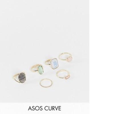 エイソス レディース 指輪 アクセサリー ASOS DESIGN Curve pack of 6 rings with multi colored stones in gold tone Gold