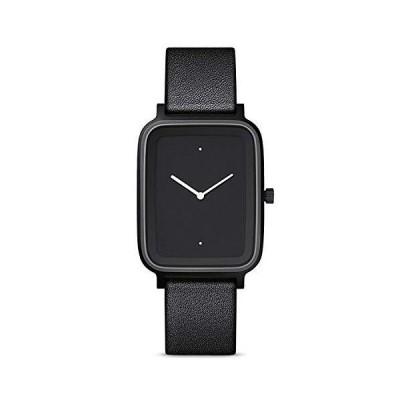 Bulbul Oblong 01腕時計–ブラックスチールonブラックイタリアンレザー