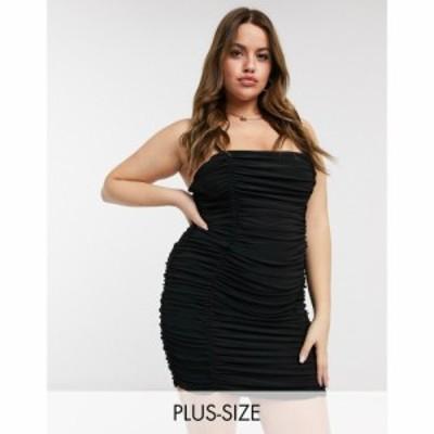 クラブエル ロンドン Club L London Plus レディース ワンピース ミニ丈 ワンピース・ドレス Club L ruched mini dress in black ブラッ