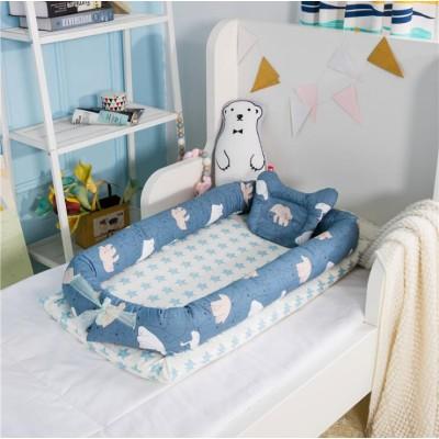 スーパーセール☆ベビーベッド☆ ベッドマット 折りたたみベッド 揺りかご 持ち運びやすい 寝床 新生児用 枕付き 転落防止 隔離の寝床を洗うことができます 取り外し可能