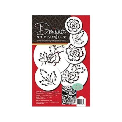 Designer Stencils Brush Embroidery Flower Set, Beige/semi-transparent好評販売中