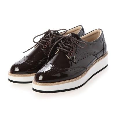 ジーラ GeeRA オックスフォード厚底靴 (ブラウン)