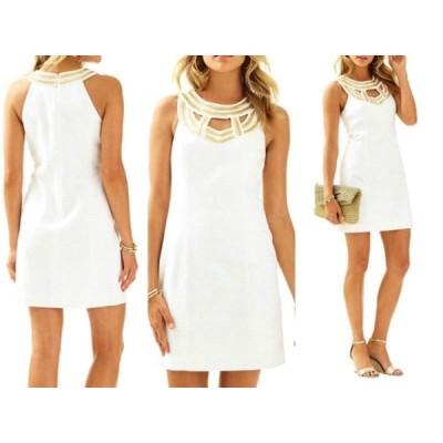 ワンピース リリーピュリッツァー Lilly Pulitzer CARLTON SHIFT DRESS Resort White Jeweled Beaded Gold 14