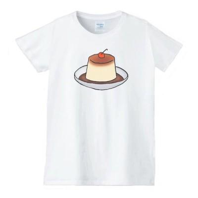 プリン 食べ物 野菜 スイーツ Tシャツ 白 レディース 女性用 jts89